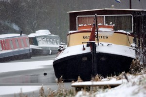 Canal boats in snow